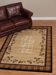 united weavers contours winter pines toffee pinecone country cabin olefin rug