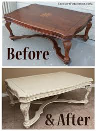 Ornate Coffee Table In Distressed Off White   Before U0026 After   Facelift  Furniture
