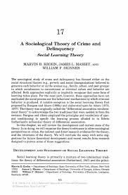 essay on learning theories steps in writing an application letter  social learning theory crime essay essay a sociological theory of crime and delinquency springer