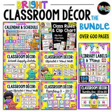 Library Decoration Chart Bright Classroom Decor Bundle