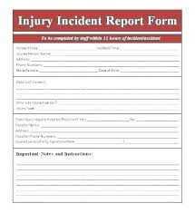Workplace Injury Report Form Template Employee Accident Incident