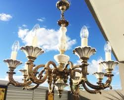 antique french provincial original porcelain 8 arm chandelier