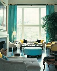 lively turquoise living room curtain