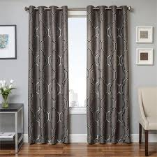 tryst curtain panels in metal grey grommets back tabs and lining interlining