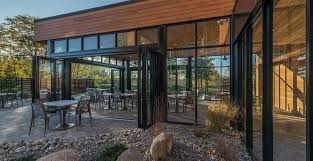 an all aluminum frame makes the folding glass doors suitable for hospital or retirement home facilities one of several ada compliant sill options can be