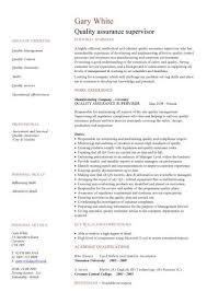 Qc Resume Samples Quality Assurance Cv Sample