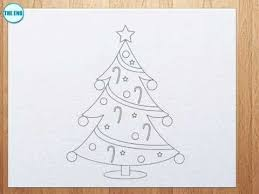 christmas drawing outline. Unique Christmas How To Draw A Christmas Tree For Drawing Outline W