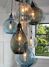 cisco brothers hand blown bottle chandelier