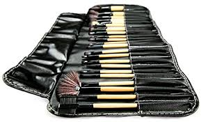 kawany professional 24 piece all natural makeup brushes kit includes make up brush leather organizer case bag top rated set