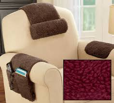 3 <b>Pc BURGUNDY</b> Sherpa Arm Head Rest Cover Organizer <b>Chair</b> ...