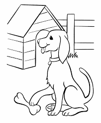Small Picture Pet Dog Coloring Pages Free Printable Pet Dog And His Bone Puppy