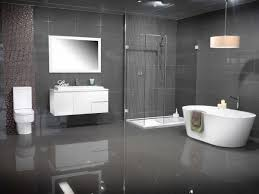 modern bathroom colors grey tiles white floating vanity freestanding tub