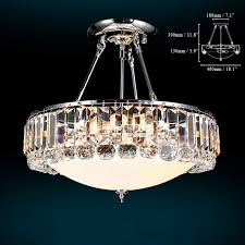 polished silver cylindrical crystal semi flush mount