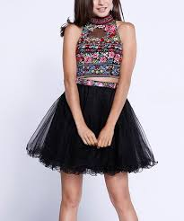 Nox Anabel Size Chart Nox Anabel Black Floral Embroidered Mesh Collar Crop Top A Line Skirt Women