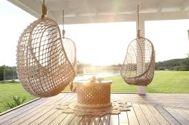 hanging rattan chair and ottoman