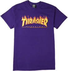 THRASHER Flame LOGO brand new short sleeve t-shirt - Purple | eBay