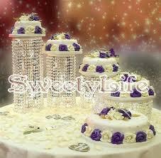 crystal wedding cake stand set centerpiece display pendants metal chandelier