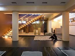 modern staircase design include quarter landing stairs with lighting