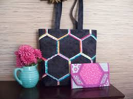 Poorhouse Quilt Design Library Video Tutorials Pattern Quilted Tote Bag