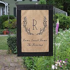 Buy Personalized Garden Flags Constructed From Rustic Burlap And Add Any  Initial Monogram \u0026 2 Lines Of Text To Include A Greeting, Family Name, ... Personalization Mall