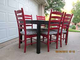 Black Dining Table With Red Ladder Back Chairs Lightly Distressed - Distressed dining room table and chairs