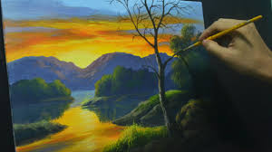 acrylic landscape painting lesson how to paint sunset river and reflections by jmlisondra you