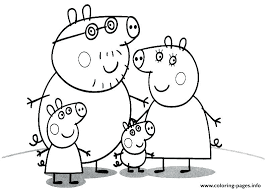 Peppa Pig Coloring Page Family Of Pig Coloring Pages Printable Peppa