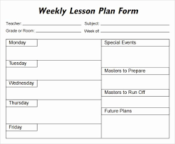 Weekly Lesson Planner Template Stanley Tretick