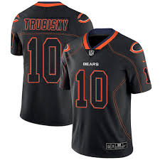 Mitchell Trubisky Out Black 10 Rush Jersey Football Chicago Bears Lights Men's Cheap Limited