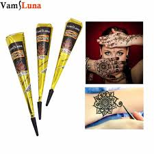 3X Black Henna India Tattoo Ink Tube For Body Paste Cone Body Art ...