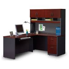 Compact Locking Single Pedestal LDesk With Hutch 14775