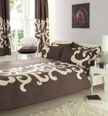 brown cream double bed duvet cover set matching curtains 66 x 72
