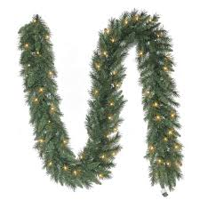 Garland With Lights Lowes Holiday Living Pre Lit 9 Ft Pine Garland With White