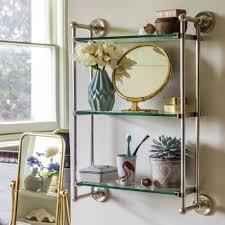 otto silver three tier glass shelf unit