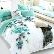 cover sets pale turquoise fl and bird print bedding sets queen size 100 cotton bed sheets blooms aqua