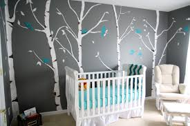 Modern Decorating Room Baby Boy Nursery Ideas White Bed Furniture Pooh  Accessories Forest Wall Art Blue Birds Dark Gray Colored