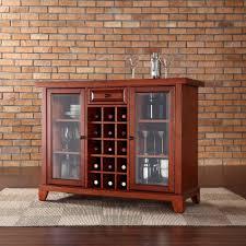 Cherry Bar Cabinet Crosley Furniture Newport Sliding Top Bar Cabinet In Classic