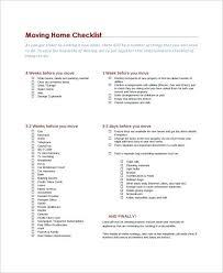 Sample College Checklist Interesting Moving Into First House Checklist Moving Checklist Templates Free