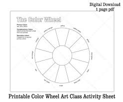 Along with what primary, analogous & complementary colors are & how to use them. Printable Color Wheel Kids Art Class Activity Sheet Digital Download Coloring Sheet Black And White Color Theory Worksheet By Eileen Mckenna Art Catch My Party