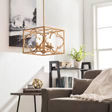 vintage gold leaf moroccan trefoil 4 light chandelier modern home fixture