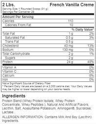 Image result for gold standard whey french vanilla creme SUPPLEMENT FACTS