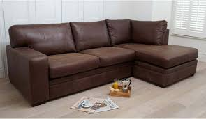 romeo 3 seater sofa with right hand chaise in forest brown leather
