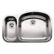 blanco wave undermount stainless steel 32 in 1 1 2 reverse double basin