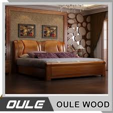 Indian Simple Design Bedroom Furniture Solid Wood Double Bed