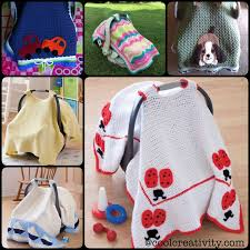 crochet baby car seat tant cover with pattern