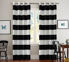 Black And White Curtains Turquoize Nautical Blackout Panels Room Inside Design