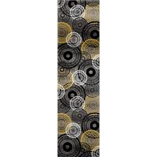 contemporary circles yellow gray 2 ft x 7 ft area runner rug 119 ylwgry 2x8 the home depot