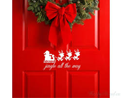 jingle all the way removable vinyl wall decal santa reindeer wall decor decoration