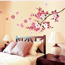 romantic sakura flowers wall stickers home decorations 9053 living bedroom office diy fl decals tv background mural art 4 0 in wall stickers from home