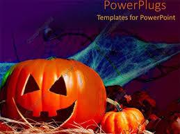 Powerpoint Template Halloween Decorations Pumpkin Bat Spider Webs